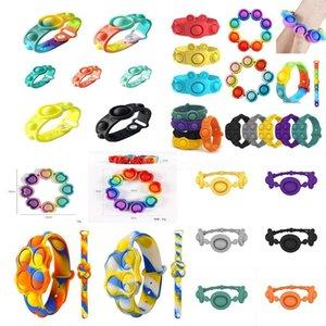 prevalent Push Bubble Fidget Bracelets Toys Sensory Ring Macaron Tie Dye Decompression Keychain Puzzle Press Finger Stress Bracelet Wristband Surprise CY07