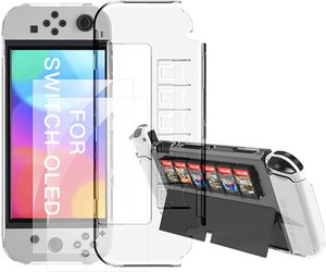 Dockable Case for New Nintendo Switch OLED Model with 2 Pieces Screen Protector Film TPU Shock Clear Absorption Anti-Scratch Protective Cover -Transparent
