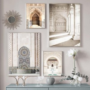 Paintings Morocco Arabic Door Architecture Canvas Painting Tourism Nordic Retro Poster Print Islamic Wall Art Picture Muslim Decor