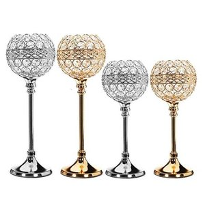 Wedding Candlestick Crystal Glass Candlestick Golden Silver Floral Dinner Table Candlestick Europe style High Foot Candle Holder SH190924