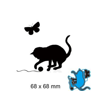 Painting Supplies Metal Cutting Dies Cat And Butterfly Scrapbook Paper Decoration Template Embossing DIY Card Craft