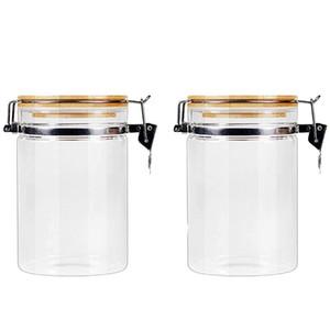 2 шт. Прочный стеклянный герметичный может хранить резервуар бамбука крышка канистра стекла многоразовый базарный бак банка для зерна конфеты