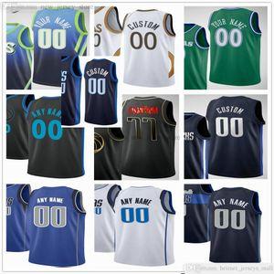 Benutzerdefinierte gedruckte Basketball-Trikots 77 Luka Richardson Doncic 33 Willie Cauley-Stein 10 Dorian Finney-Smith 1 Tyrell Terry 2 Tyler Bey Nate Tinton Jersey