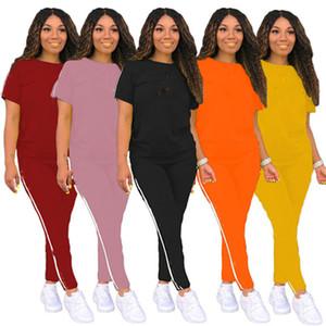Plus size Women letter Outfits casual Sweat suit sexy 2 piece sets short sleeve crop top+skinny pants summer clothes slim jogger suit 3507