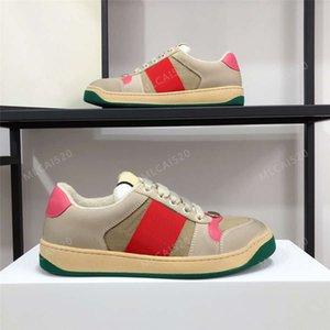 Nueva Sneaker Sneaker Italia Trainers de diseño de cuero sucio verde Raya roja Sneaker ACE Bordado Cuero genuino Hombres Mujeres Zapatos casuales