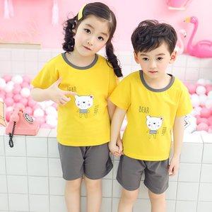 2019 kısa giyim kol takım elbise çocuk yeni ev giyim Kore sporları t-shirt iki parça set