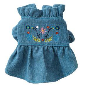 Stylish Adorable Floral Printing Dog Flower Dress Skirt Denim Embroidered Vest Skirt Charming Cozy Clothing Pet Summer Clothes V