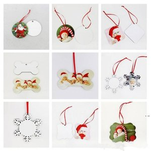 18 Styles Sublimation Mdf Christmas Ornaments Decorations Round Square Shape Decorations PendantsTransfer Printing Blank Consumable HWC6308