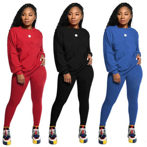 Discount Women tracksuit Set Sportswear Long Sleeve T-shirts Top + Pants Two-Piece suit fashion womens outfits clothing Running clothes N669