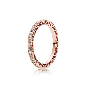새로운 럭셔리 18K 로즈 골드 CZ 다이아몬드 결혼 반지 Pandora 925 스털링 실버 반지 원래 상자 세트 여성을위한 약혼 쥬얼리 세트