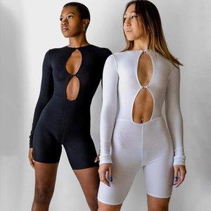 2021 летние новые женские носки сексуальные выдолбленные высокие талии бодибилдинг комбинезон дизайнер мода повседневная длинная рукава сплошной цвет тонкий