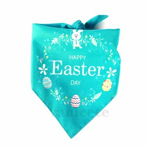 New home Easter Dog Bandana Double Happy Easter Egg Bunny Printed Triangle Bibs Pet Scarf for Medium to Large Dogs ZC036
