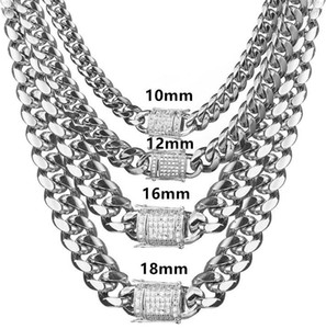 AIYANISHI 10 12 14 16 18MM Miami Cuban & Link Chain Necklace Stainless Steel Gold Color Necklace Men Hip Hop Rock Jewelry