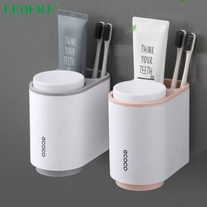 Toothbrush Holder Toothpaste Squeezer Wall Mounted for Bathroom Cup Accessories Set