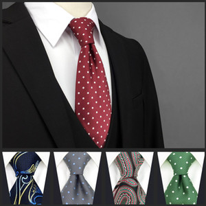 Paisley النقاط الملونة قرمزي الأبيض العلاقات الرجال ربطات العنق 100٪ الحرير إضافي طويل الحجم الجاكار المنسوجة الأزياء الجديدة