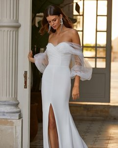 2021 Illusion Long Poet Sleeves Mermaid Wedding Dresses Sweetheart Sexy Front Split Summer Bridal Wedding Gowns