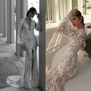 Boho Mermaid Wedding Dresses Long Sleeve Lace Applique Sequins Dresses Deep V Neck Thigh Split Bridal Gowns Abiti Da Sposa