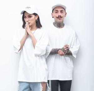 T-shirt sólida homens mulheres casais camisola pescoço hip hop steetwear solto casual tee moda tops