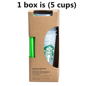 Starbucks 24OZ 710ml Plastic Tumbler Reusable Clear Drinking Flat Bottom Cup Pillar Shape Lid Straw with lids and straws Coffe