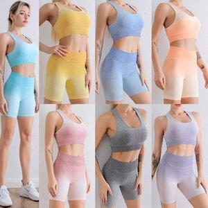 Women Gradient Yoga Tracksuits Gym Jogging Sportswear Running Tops Seamless short Leggings sleeveless Sport Bra Fitness Suit 7color