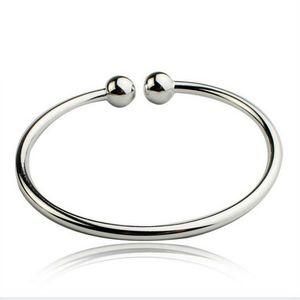 Bracelet en argent double boule simple Femme ouverte bracelet poignet poignets de poignets 925 sterling argent bracelet bracelet