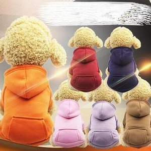 Hooded Pocket Sweater Small Dogs Hoodies Coat Pocket Jackets With Sleeve Dogs Outside Travel Winter Warm Clothes Pet Supplies WY134Q