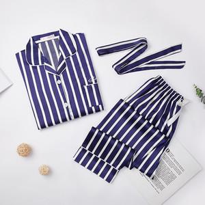 Longa camisa de pijama de nightgown feminino de tira de cinto sexy brinquete Broek 2 peça / conjunto doce lingerie kpacotakowka