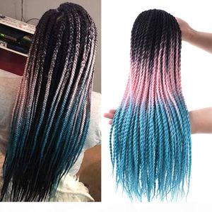 "5Pcs Lot Senegalese Twist Crochet Hair 24"" Ombre Box Braids Crochet Hair Synthetic Twist Hair Extensions For Women (Black-Pink-PeacockG"
