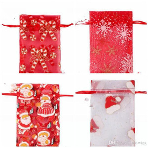 Xmas Gift Bags Xmas Candy Organza Bag Santa Printed Drawstring Pouches Gauze Yarn Xmas Decoration Holiday Party Gifts 11 Colors WY86Q