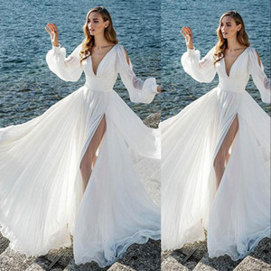 2021 Cheap A Line Wedding Dresses Summer Beach Deep V Neck Long Sleeves High Side Split Floor Length Plus Size Formal Bridal Gowns