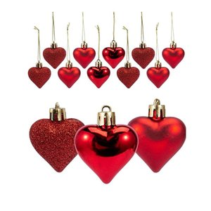 36Pcs Heart Pendant Balls Decoration Party Hanging Ornaments Romantic Valentine's Day Gifts Wedding Decorations For Home