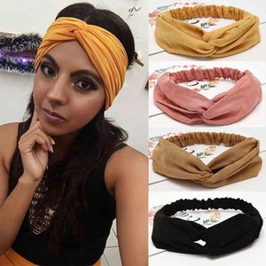6pcs Lot Fashion Women Solid Headbands Girls Bohemian Bands Vintage Cross Turban Bandage Print Hair Accessories