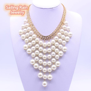 Sailing Rain Many Pearl Choker Necklace Women Lady Cute Girl Romantic Scarf Necklace Princess Bride Wedding Party Boho Jewelry