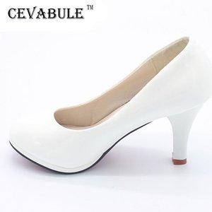 Cevabule Shoes Mulheres 3 Cor Preto Branco Vermelho Color Pu Fino Salto Bombas Profissão Bombas Mulheres Sapatos.dfgd-8807 210225