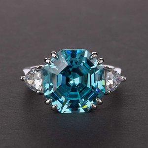 HBP الأزياء الفاخرة الإبداعية مثمنة باغودا * 12 حلقة S925 الفضة عالية الكربون الماس محاكاة 13 قيراط