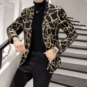 2020 American fashion Korean tight men's printed men's long sleeve jacket casual designer suit jacket men's jacket dress J0528