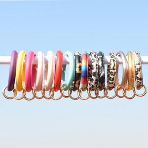 Solid Color Faux Leather Circle Wristlet Bracelet Keyring Leopard Large Car Key Chain Holder Convenient PU Bangle Keychain Kimter-Q23FZ