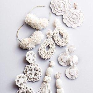 Charme Branco Grande Rodada Flor Brinco Para As Mulheres Trendy Boho Grânulos Handmade Borla Pendurado Brinco Jóias De Casamento Por Atacado