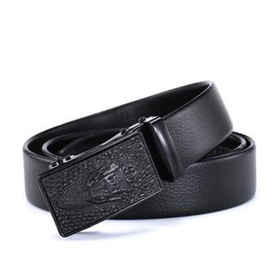 Belts Fashion Belt Men belt 100% Top cow leather Belt Automatic Buckle 3.5cm width Black Coffee casual male Belts 007