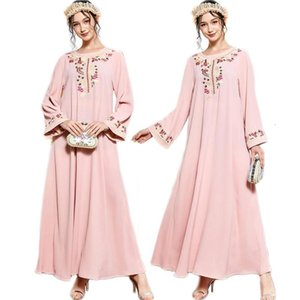Women Long Maxi Dress Muslim Abaya Moroccan Kaftan Embroidery Jilbab Dubai Caftan Turkish Robe Arab Party Gown Islamic Clothing