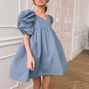 2021 spring and summer new products Europe and America loose commuter V-neck cotton bubble sleeves solid color A short dress