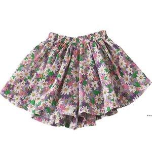 Daisy Falda Pantskirt Girl Tutu Shorts Lovely Summer Foreign Style Fin Thin Algodón Pantalones de pierna ancha Baby Mini Flor Daisy Kid Ropa OWD5321