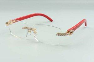 2021 designers frame endlesses diamonds 3524012 for men women natural red wooden glasses, size: 55-18-135mm
