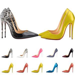 Mulheres Vermelho Bottom Luxurys Designers Sapatos Altos Saltos Pessoas Pessoas Cetim Bombas De Couro Brilhante Senhora Sandálias De Casamento