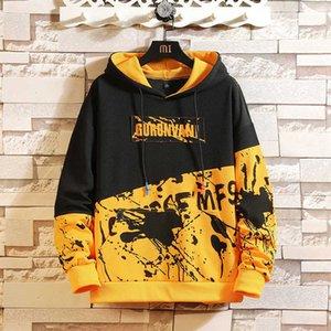 Japan Stil Casual Oanhals Frühling Herbst Print Hoodie Sweatshirt Männer Dicke Fleece Hip Hop High Streetwear Kleidung 201020