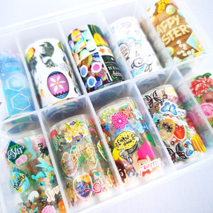 10rolls Box Nail Art Transfer Foils Energetic Easter Rabbit Colouful Easter Egg Cartoon Nail Foils Decals Easter Gift Box Packing