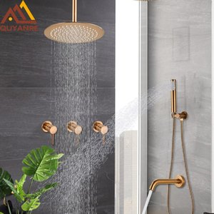 Bathroom Shower Sets Brushed Rose Gold Concealed Faucets Rainfall Faucet Mixer System Cold Water Bath