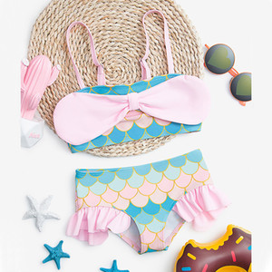 New Baby Girls Mermaid Swimsuit cute kids big Bowknot Spa Swimsuits Cute Pink Children Princess Summer Beach Bikinis Sets B022