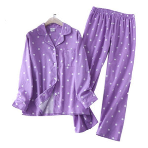 100% Cotton Women Pajamas Set Sexy Print Dot Pyjama Home Femme Winter Warm Sleepwear Big Size 2020 Fashion Pjs