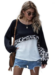 Knits Tees Fashion Panelled Crew Neck Knitting Tops Fungus Designer Women Autumn Clothing Women Casual Loose